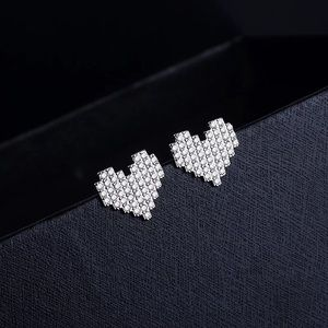 Fashion Trendy Cute Diamond Heart Stud Earrings